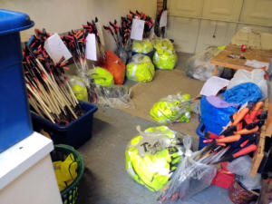 Equipment awaiting collection